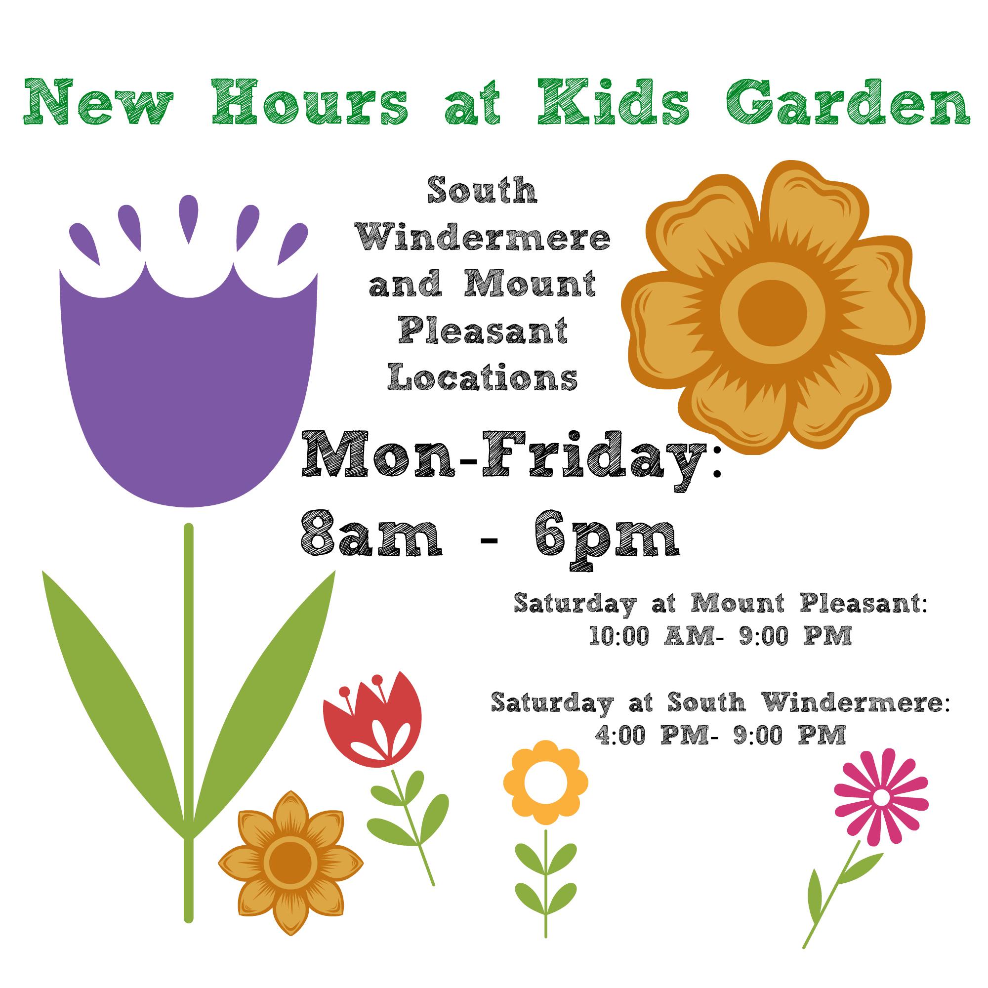 New Hours at Kids Garden