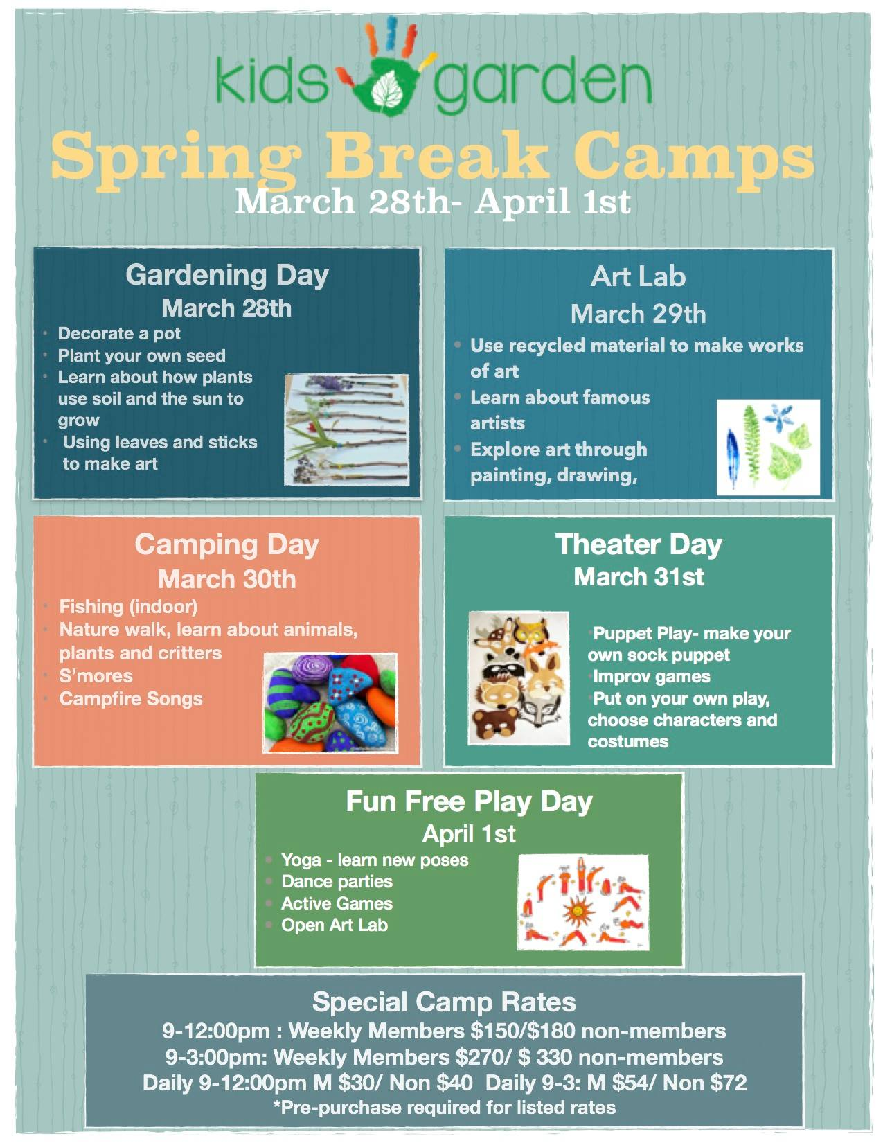 Spring Camps at Kids Play Garden